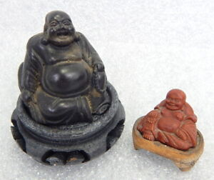 Vintage or Antique Carved Wood Chubby Happy Buddha Figure Statue Chinese