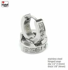 Stainless Steel Huggie Hoop Hinged Snap Earrings Men's Hip Hop Rapper SSHE 020 S