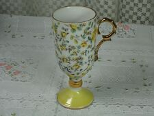 Vintage Porcelain Petite Vase/Cup with Yellow Roses and Gold Trim Handle