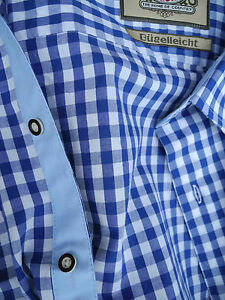 Trachtenhemd in Baumwolle blau weiss in XS bis 5XL Klassiker Neu