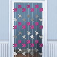 6.5ft Happy 21st Birthday PINK Door Doorway Danglers Party Decoration