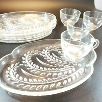 Vintage Federal Glass Homestead Wheat Pattern Snack Set of 4