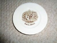 1850's brown transferware childs plate Rural sports boy girl in woods scalloped