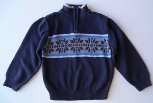 GYMBOREE BOYS Arctic Territory Half Zip Snowflake Pullover Cotton Sweater 5 Yrs