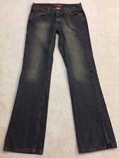 Hollister Denim Blue Jeans Size 2R Low Rise Boot Cut Distressed 100% Cotton Dark