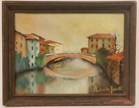 """Oil Painting on Canvas Bridge Scene Cityscape Signed Framed Art  (14.5"""" x 18.5"""")"""