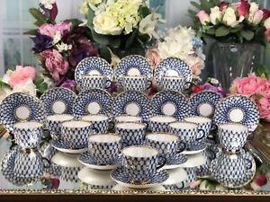 Russian Lomonosov Cobalt Net 32 Pieces Coffee and Saucer 16 Set Duo