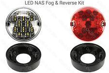 2 RDX LUX LED NAS Fog Reverse Lights Plinths LandRover 90/110 Defender to 2001
