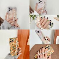 For iPhone 12 Pro Max 11 XS Max XR 8 7 Plus Flower Case Soft Chain Phone Cover