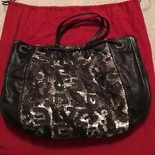 NWT $2.9K Valentino Garavani Black Leather Sequin Metallic Tote Handbag Purse