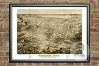 Old Map of Negaunee, MI from 1871 - Vintage Michigan Art, Historic Decor