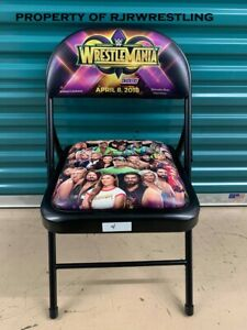 2018 WWE WRESTLEMANIA 34 RINGSIDE EVENT COMMEMORATIVE CHAIR RONDA ROUSEY APRIL 8
