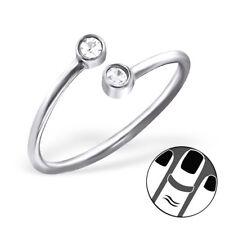TJS 925 Sterling Silver Midi Ring Round CZ US Size 3.5 Fine Jewellery