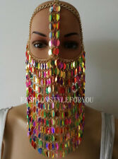 Fashion HE61 Women Gold Chains Colorful Plastic Leaf Mask Face Head Jewelry