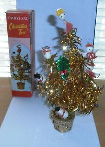 Vintage Christmas Tree Aluminum Spun Cotton Chenille Glass Ornaments With Box
