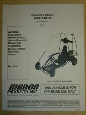 Manco Model 405-20 405-26 Go Kart Parts List Operators Manual Cart