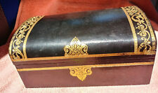 VINTAGE MENS SWANK JEWELRY CASKET BOX stamped GOLD FAUX LEATHER Made in SWEDEN