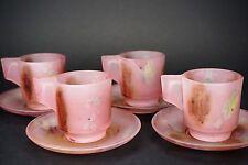 Israeli Hebron Reuven Nouveau Art Glass - Set of 4 Cups and Saucers - A