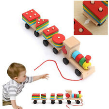Educational Kid Baby Wooden Solid Wood Stacking Train Toddler Block Toy Gift ZY