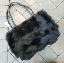 Genuine fox fur bag, brown