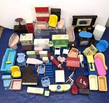 Lot Of Vintage Renwal Marx Plastic Miniature Furniture Sets Kitchen Living Room