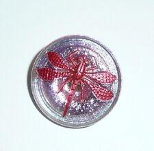 Vitrail Pink w/ Reddish Copper Finish Czech Glass Dragonfly Shank Button 23mm