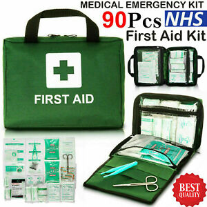 90 Pcs First Aid Kit Bag Medical Emergency Kit Travel Home Car Taxi Workplace