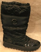 Coach Drexel Quilted & Patent Op Art Chocolate Winter insulated Boots  5.5 new