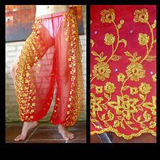 Harem Pants Belly Dance  Bright Red w/ Gold Brocade Slit