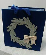 Hallmark Signature Medium Holiday Gift Bag Christmas Wreath Blue Velveteen NEW