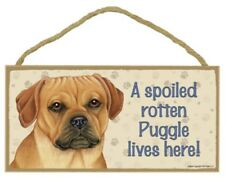 """A Spoiled Rotten Puggle lives here! Cute Dog Sign 5""""x10"""" Usa Wood Plaque New 116"""