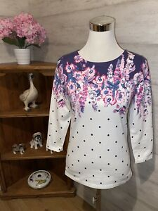 Joules Printed Jersey Top Cream White Floral Spot Size 8 Please See Description