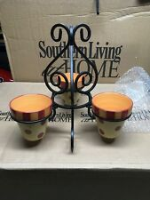 Southern Living Gail Pittman Hand Painted Pots And Stand Siena NEW 40881