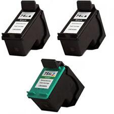 2 HP74XL 1 HP75XL Reman Ink Cartridge for C4599 C5200 C4280 C5280 D5360 Printer