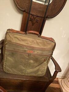 Vtg  Hartmann Ballistic  Nylon & Leather Rolling Garment Bag 21 X21