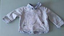 Pull Bleu Clair avec Chemise intégrée JACADI 12 mois Bon Etat