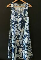 Tommy Bahama Womens Blue Floral Linen Dress Sleeveless with Pockets sz M Medium