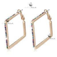 18k yellow gold gp made with SWAROVSKI crystal hoop stud earrings hoops colorful