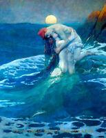 """Nude Mermaid with Lover in Ocean Wave 8.5x11"""" Photo Print Howard Pyle Fine Art"""
