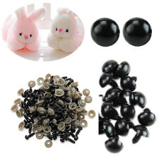 100 Pcs 6-14mm Black Plastic Safety Eyes for Teddy Bear Dolls Toy Animal Crafts