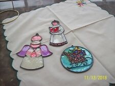Christmas Vintage Large Ornaments Stain Glass Plastic Sun Catchers Set Of 3