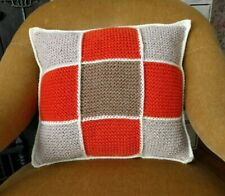 GRANNY SQUARE HAND KNITTED CUSHION WITH CROCHET EDGE RUST BEIGE COFFEE - 15 x 15