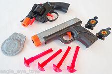 2X Toy Guns Snub-nosed Revolver Cap Gun & 9MM Dart Pistol & Targets Set SAFE