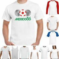 Mexico 86 Football T-Shirt Retro 1986 World Cup Logo Kit England Retro Top
