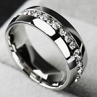 Men/Women CZ Couple Stainless Steel Wedding Ring Titanium Engagement Band Gifts