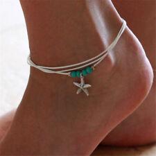 Boho Anklet Ankle Bracelet Starfish Beach Silver Turquoise Festival Bohemian