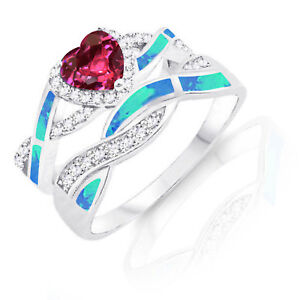Ruby Heart Infinity Celtic Blue Opal w CZ Engagement Silver Ring Set