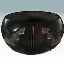 Vintage Deeply carved Santa Clara bowl vase signed Mida Tafoya New Mexico