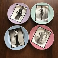 NEIMAN MARCUS 4pc LOT SET DESSERT PLATES VINTAGE FASHIONS 95 YEARS 1907-2002 BW2