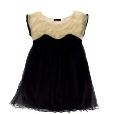 Lux Womens Cocktail Dress Size S Black Nude Sheer Top Silk Evening Wear Small